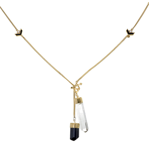 LONG CRYSTAL NECKLACE WITH CHEVRON DETAIL - QUARTZ & BLACK TOURMALINE - GOLD plate on sterling silver by tiger frame jewellery