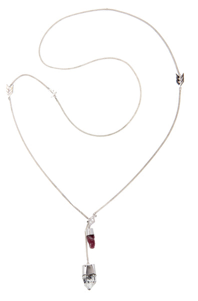 LONG CRYSTAL NECKLACE - PINK TOURMALINE WITH DIAMOND QUARTZ - SILVER