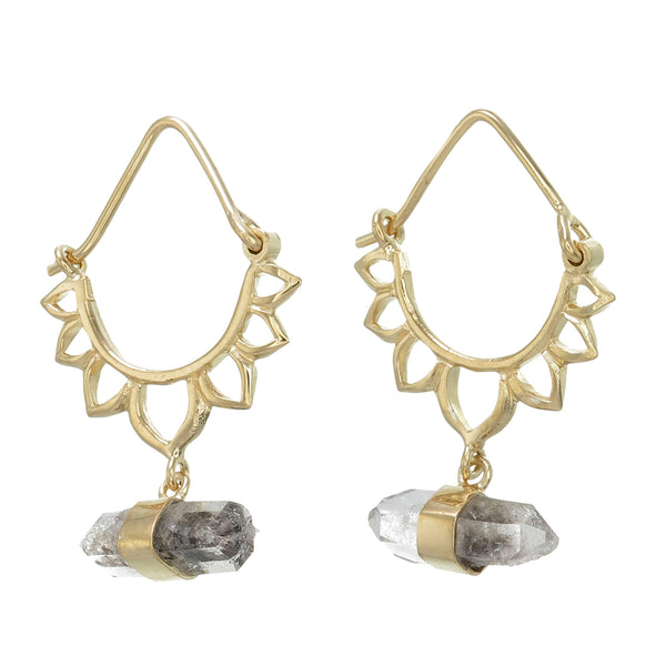 LOTUS CRYSTAL EARRINGS - GOLD plate on sterling silver by tiger frame jewellery