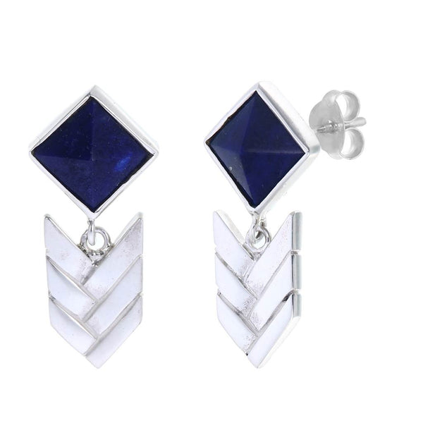 LAPIS LAZULI WOVEN STUDS  -  sterling silver by tiger frame jewellery
