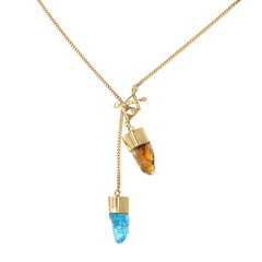 MEDIUM CRYSTAL NECKLACE WITH APATITE & CITRINE CRYSTALS - GOLD