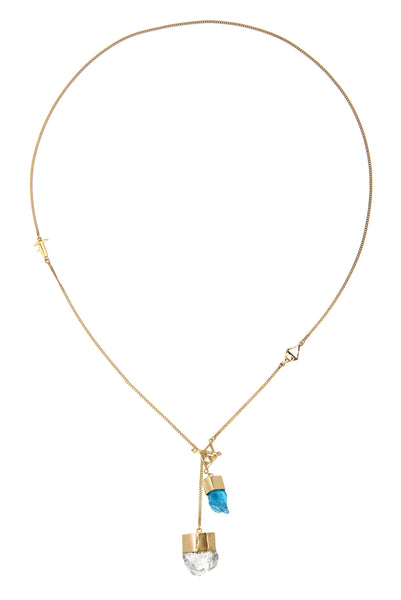 MEDIUM CRYSTAL NECKLACE WITH APATITE AND DIAMOND QUARTZ - GOLD plate on sterling silver by tiger frame jewellery