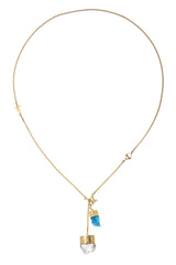 MEDIUM CRYSTAL NECKLACE WITH APATITE AND DIAMOND QUARTZ - GOLD