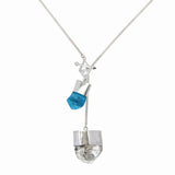 MEDIUM CRYSTAL NECKLACE WITH APATITE AND DIAMOND QUARTZ - SILVER