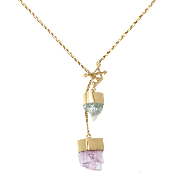 MEDIUM CRYSTAL NECKLACE WITH AQUAMARINE & KUNZITE CRYSTALS - GOLD plate on sterling silver by tiger frame jewellery