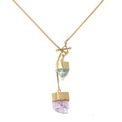MEDIUM CRYSTAL NECKLACE WITH AQUAMARINE & KUNZITE CRYSTALS - GOLD