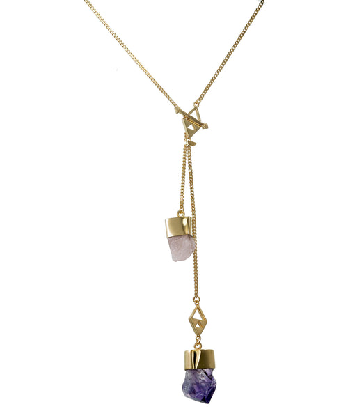 MEDIUM CRYSTAL NECKLACE WITH MORGANITE & AMETHYST CRYSTALS - GOLD plate on sterling silver by tiger frame jewellery