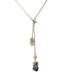 MEDIUM CRYSTAL NECKLACE WITH MORGANITE & AMETHYST CRYSTALS - GOLD
