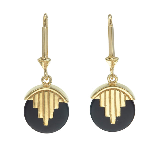 MINI AURORA PENDULUM EARRINGS BLACK ONYX - GOLD