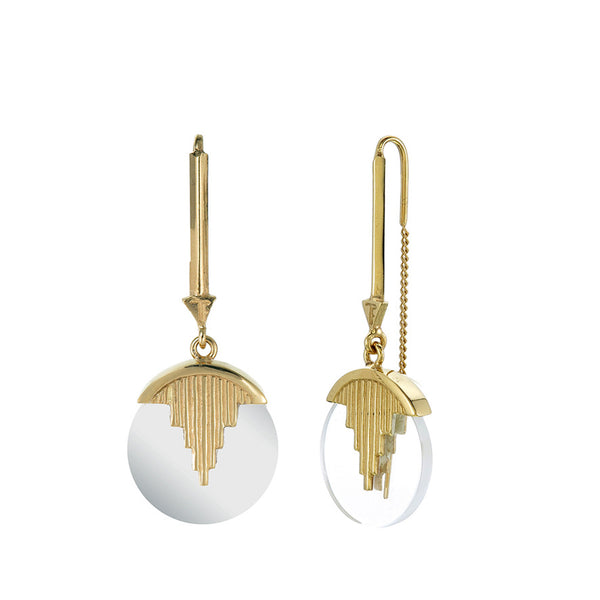 MINI AURORA PENDULUM EARRINGS QUARTZ - GOLD