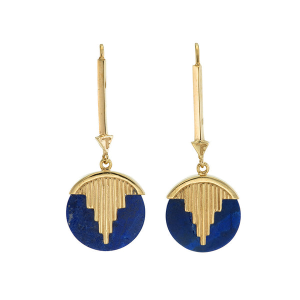 MINI AURORA PENDULUM EARRINGS LAPIS LAZULI - GOLD