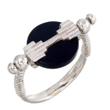 MINI AURORA SWIVEL RING BLACK ONYX - SILVER