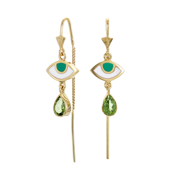 BEJEWELLED EYE PULL THROUGH EARRINGS PERIDOT - GOLD