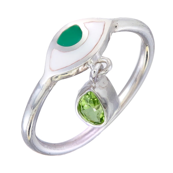 BEJEWELLED EYE RING - PERIDOT - SILVER