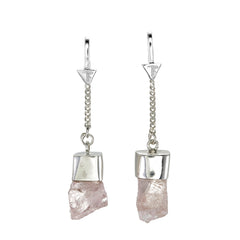 MORGANITE CRYSTAL PULL THROUGH EARRINGS - SILVER