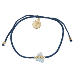 AQUAMARINE CRYSTAL BRACELET- NAVY - GOLD