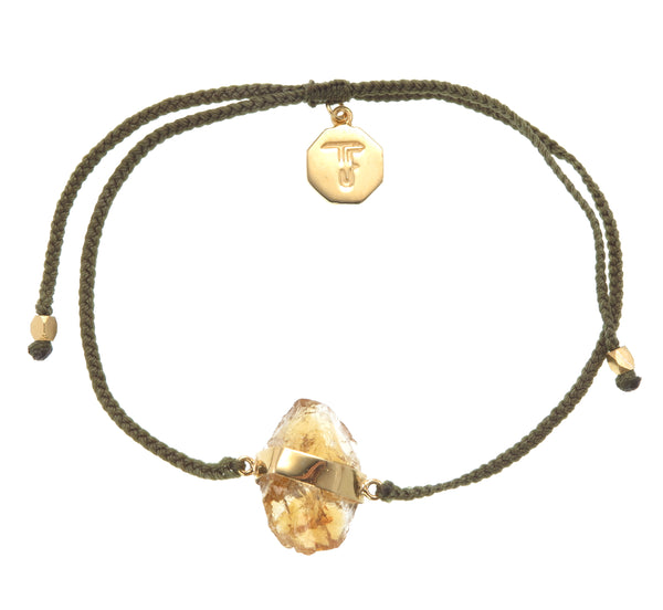 CITRINE CRYSTAL BRACELET - OLIVE GREEN - GOLD