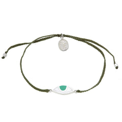 EYE PROTECTION BRACELET- OLIVE GREEN -SILVER