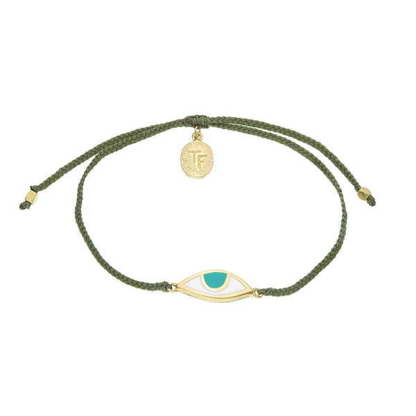 EYE PROTECTION BRACELET - OLIVE GREEN - GOLD plated sterling silver by tiger frame jewellery