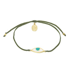 EYE PROTECTION BRACELET- OLIVE GREEN- GOLD