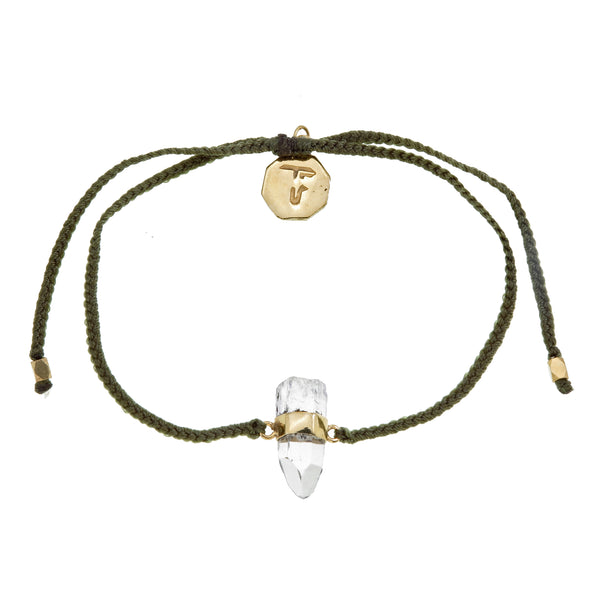 QUARTZ CRYSTAL BRACELET - olive green - gold plate on sterling silver by tiger frame jewellery