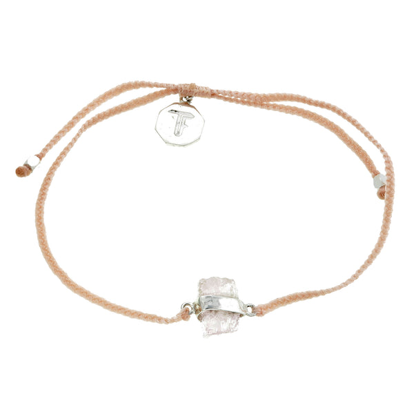 MORGANITE CRYSTAL BRACELET - PALE PINK - SILVER