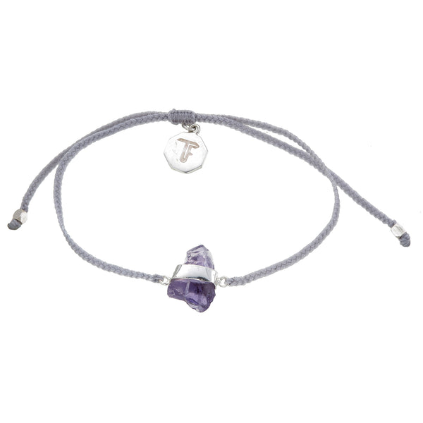 ROUGH AMETHYST CRYSTAL BRACELET - PASTEL GREY - STERLlng silver by tiger frame jewellery
