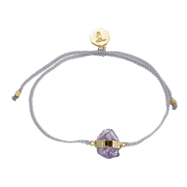 ROUGH AMETHYST CRYSTAL BRACELET - PASTEL GREY - gold plate on STERLlng silver by tiger frame jewellery
