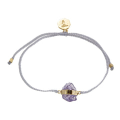 ROUGH AMETHYST CRYSTAL BRACELET- PASTEL GREY-GOLD