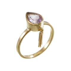 AMETHYST TASSEL RING - GOLD