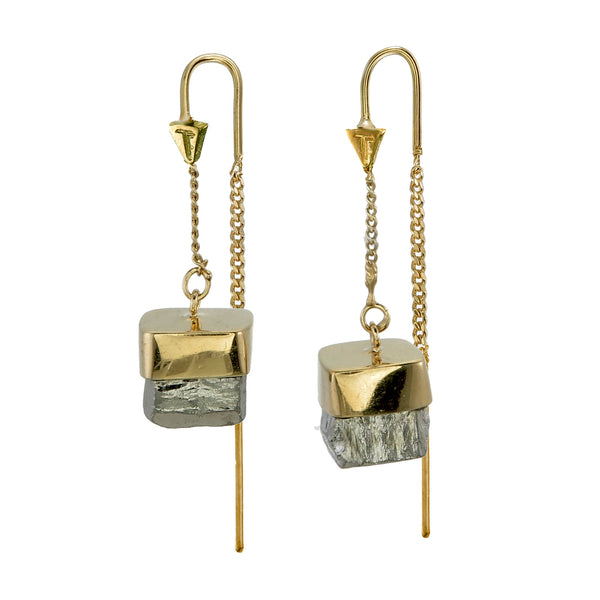 PYRITE CUBOID CRYSTAL PULL THROUGH EARRINGS - gold plate on sterling silver by tiger frame jewellery