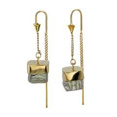 PYRITE CUBOID CRYSTAL PULL THROUGH EARRINGS - GOLD