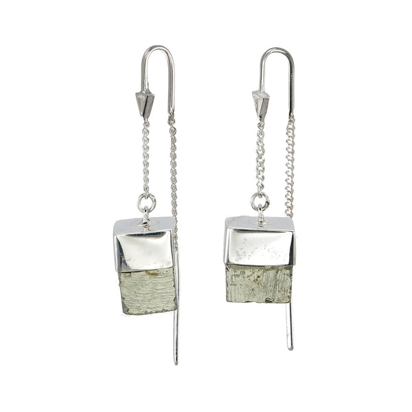 PYRITE CUBOID CRYSTAL PULL THROUGH EARRINGS - SILVER