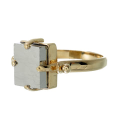 PYRITE SWIVEL RING - GOLD