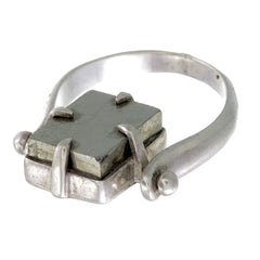 PYRITE SWIVEL RING - SILVER
