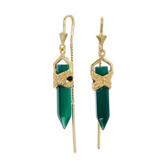 ROPE BEZEL PULL THROUGH EARRINGS GREEN ONYX - GOLD