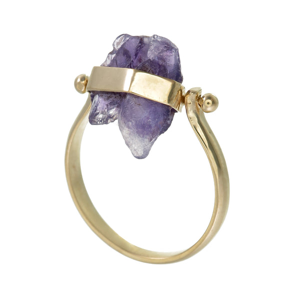 ROUGH AMETHYST SWIVEL RING - gold plate on sterling silver by tiger frame jewellery