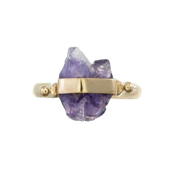 ROUGH AMETHYST SWIVEL RING - GOLD