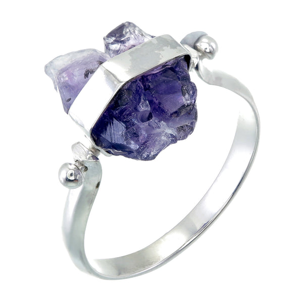 ROUGH AMETHYST SWIVEL RING - SILVER