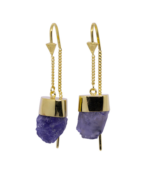 IOLITE CRYSTAL PULL THROUGH EARRINGS - GOLD