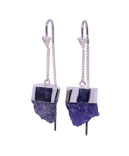 IOLITE CRYSTAL PULL THROUGH EARRINGS -SILVER
