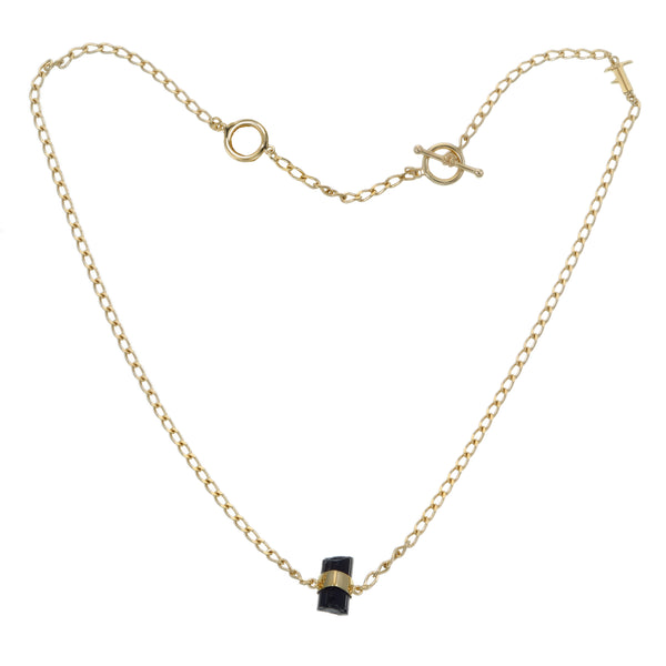 BLACK TOURMALINE SHORT NECKLACE - GOLD