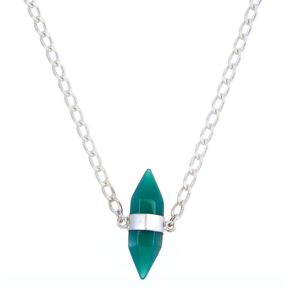 GREEN ONYX SHORT NECKLACE - SILVER