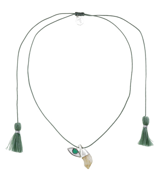SINGLE STRING NECKLACE - GREEN /CITRINE CRYSTAL - SILVER