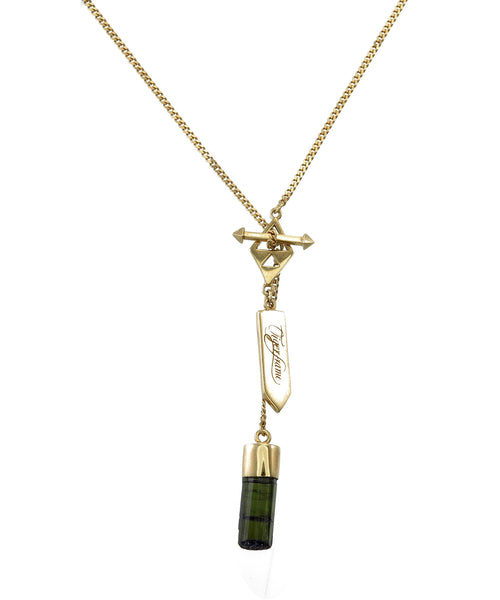 SMALL CRYSTAL NECKLACE - BLACK TOURMALINE - GOLD