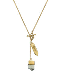 SMALL CRYSTAL NECKLACE - PYRITE CUBOID CRYSTAL - GOLD