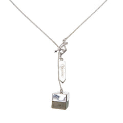 SMALL CRYSTAL NECKLACE - PYRITE CUBOID CRYSTAL - SILVER