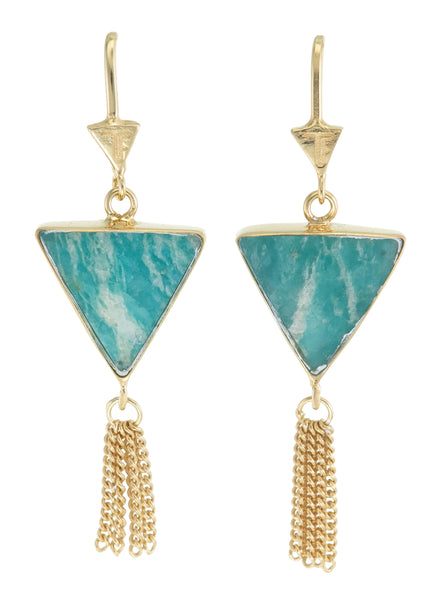 SPLENDOUR TASSEL PULL THROUGH EARRINGS - AMAZONITE - GOLD