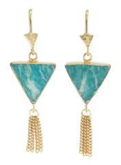 SPLENDOUR TASSEL PULL THROUGH EARRINGS - AMAZONITE - GOLD plate on sterling silver by tiger frame jewellery