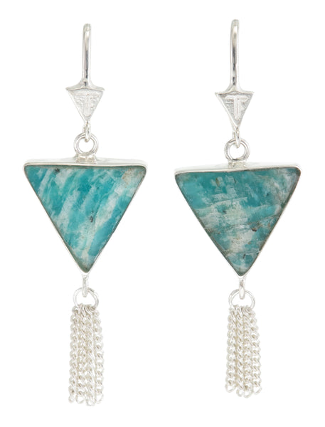 SPLENDOUR TASSEL PULL THROUGH EARRINGS - AMAZONITE - sterling silver by tiger frame jewellery